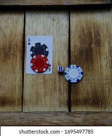 Ace of spades poker chips and dice
