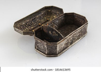Aceh, Indonesia, 10/9/2020: Ancient decorative box made of gold and silver of Acehnese. Antiques in the collection of the Pedir Museum.