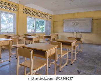 Aceh Indonesia - March 1,2021: School study room is empty, the arrangement of benches and chairs in a neat school study room in the city of Aceh, the concept of education, Indonesia