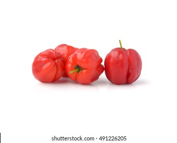 Acerola cherry on white background