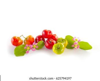 Acerola cherry on white background