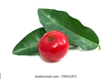 Acerola cherry - Acerola small cherry fruit with leaf isolated on white background. Acerola cherry is high vitamin C and antioxidant fruits. Selective focus
