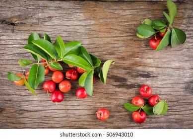 Acerola cherry of thailand soft focus on White background
