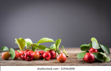 Acerola cherry of thailand soft focus on White background