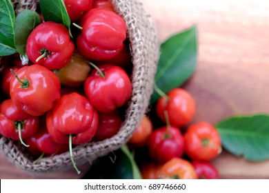 Acerola fruit close up on background