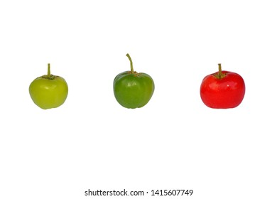 Acerola isolated on white background.With clipping path.
