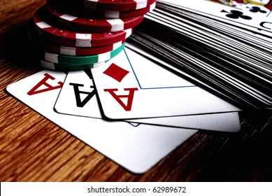 aces high on the table with chips