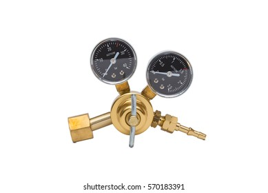 Acetylene cylinder pressure regulator gauge isolated on a white background