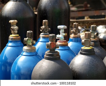 Acetylene and gas steel storage tanks for welding