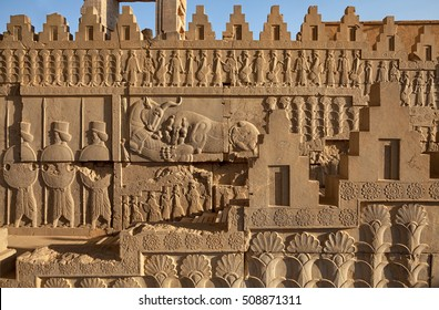 Achaemenid bas relief carvings on side panels of staircase toward the castle in Persepolis UNESCO World Heritage Site near Shiraz, Iran.