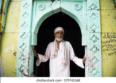 ACHALPUR, MAHARASHTRA, INDIA, 7 JULY 2015 : Unidentified pilgrims visit the Sufi shrine Dargah. this shrine of most revered sufi saint Dulha Shah Rehman Gazi Dargah Achalpur