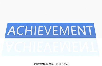Achievement - 3d render blue box with text on it on white background with reflection