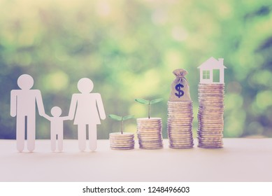 Achieving financial comfort, planning for a secure retirement and mitigating taxes concept : Family members, house, dollar bag, green sprout on coins, depicts saving for wealth / money, income growth