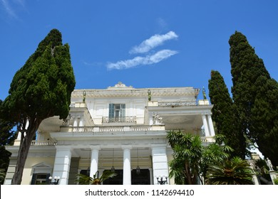 ACHILLEION PALACE, CORFU ISLAND, GREECE - May 26, 2017: It was built by Empress of Austria, Elisabeth of Bavaria, also known as Sisi in 1890