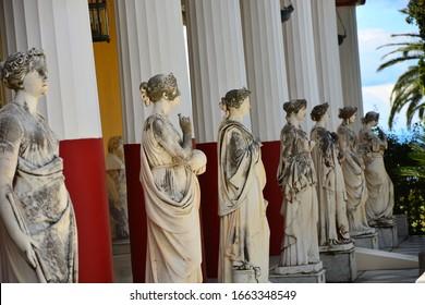ACHILLEION PALACE, CORFU ISLAND, GREECE - May 26, 2017: Statue of a Muses in Achillion Palace on Corfu island Greece