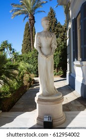 Achilleion palace in Corfu Island, Greece. Statue of Empress of Austria Elisabeth of Bavaria, also known as Sisi.