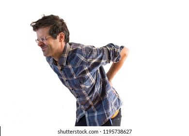 aching man with backache isolated on white background