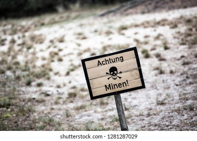 'Achtung Minen!' 'Danger Mines!' sign, minefield, museum, Leba Rabka, Poland