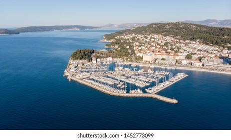 ACI marina Split, Croatia, aerial view on the luxury yachts