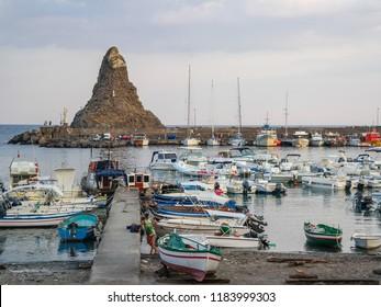 Aci Trezza, Sicily / Italy - 08 07 2014: Cyclops island. Yacht harbor