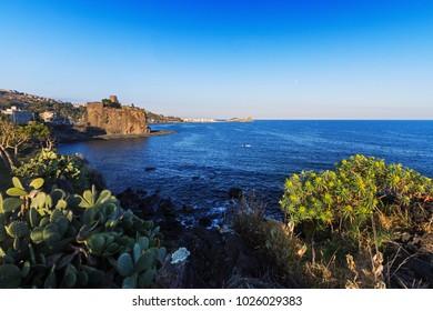 Acicastello's Castle on the Mediterranean Sea in Sicily, near Catania.