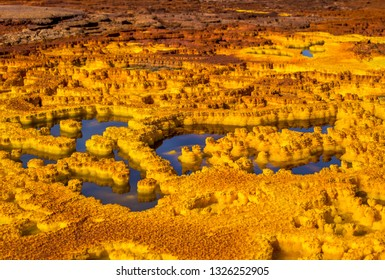 Acid lake on Dallol volcano, Ethiopia