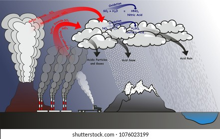 Acid Rain infographic diagram showing natural and human effects that cause it and produce sulfur dioxide nitrogen oxide which go in oxidation reaction with water in clouds at atmosphere for chemistry