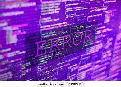 Acid trip toxic error in program code listing, red violet pink crash on software developer screen