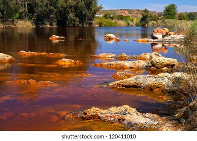 acidic rio ()river Tinto in Niebla (Huelva), Spain