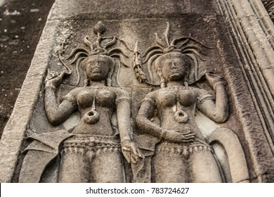 Acient apsara dancer carving in the Angkor wat temple, Siem reap, Cambodia