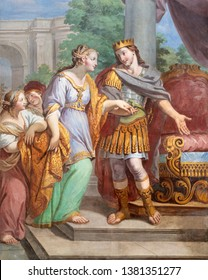 ACIREALE, ITALY - APRIL 11, 2018: The fresco of Esther and king Xerxes in church Chiesa di San Camillo by Pietro Paolo Vasta (1745 - 1750).
