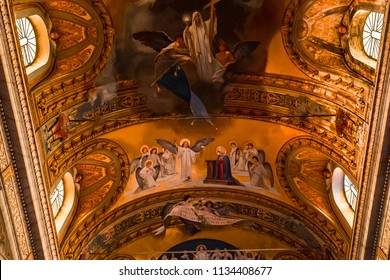 ACIREALE, SICILY, ITALY, JUNE 11, 2018 : interiors details and frescoes in the cathedral, june 11, 2018,  in Acireale, sicily, italy