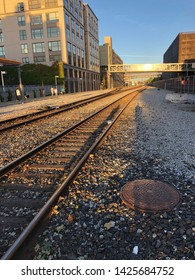 ACK LONDON SQUARE, CA, USA - JUN 10, 2019: Train Rail track of Amtrak's during subset