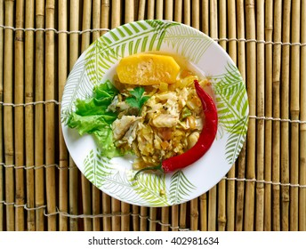 Ackee and saltfish. traditional Jamaican dish.Jamaican cuisine.