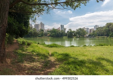 The Aclimacao Park lake view. It was the first zoo in Sao Paulo and founded by Carlos Botelho, Brazil.