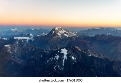 Aconcagua (6962 m) is the highest mountain in the Americas (aerial photo) on Chile to Argentina border