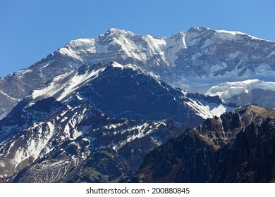 Aconcagua, the highest mountain in the Americas at 6.960 mts., located in the Andes mountain range in Mendoza, Argentina.