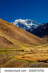 Aconcagua Mountain and Horcones Lagoon, Aconcagua Provincial Park, Central Andes, Mendoza Province, Argentina