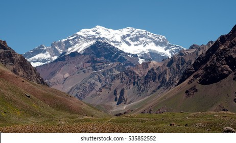 Aconcagua Mountain with snow and ice in a good weather day