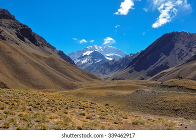 Aconcagua National Park's landscapes in between Chile and Argentina.