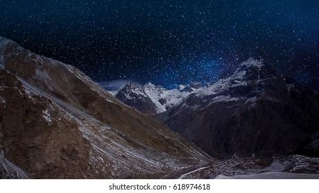 Aconcagua peaks at snowy night, Argentina