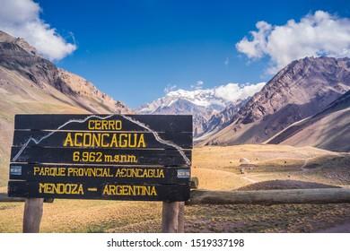 Aconcagua Provincial Park / Mendoza / Argentina - 02/01/2019: Information signage at the park entrance (Aconcagua Mountain, 6,982 m.s.n.m, Aconcagua Provincial Park, Mendoza - Argentina)