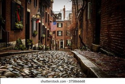 Acorn St. in Boston, Ma on a rainy day