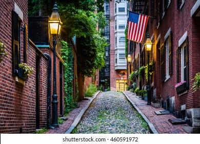 Acorn Street, in Beacon Hill, Boston Massachusetts.