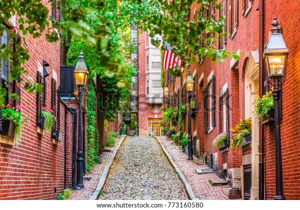 Acorn Street à Boston, Massachusetts, USA.
