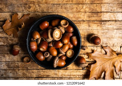 Acorns on a rustic wooden table top view