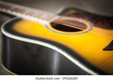 Acoustic classical guitar with strings. Close-up.