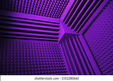 acoustic foam absorber and bass traps for sound dampering, purple background