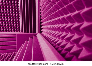 acoustic foam absorber and bass traps for sound dampering purple background