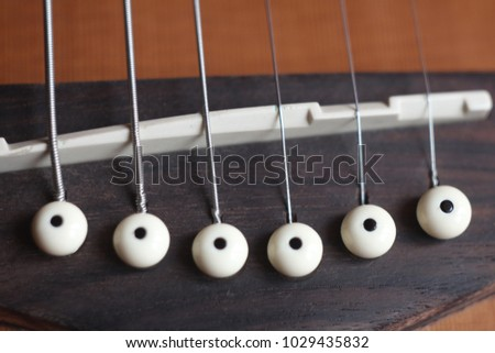 Acoustic Guitar Brown Bridgewhite Saddle Strings Stock Photo Edit